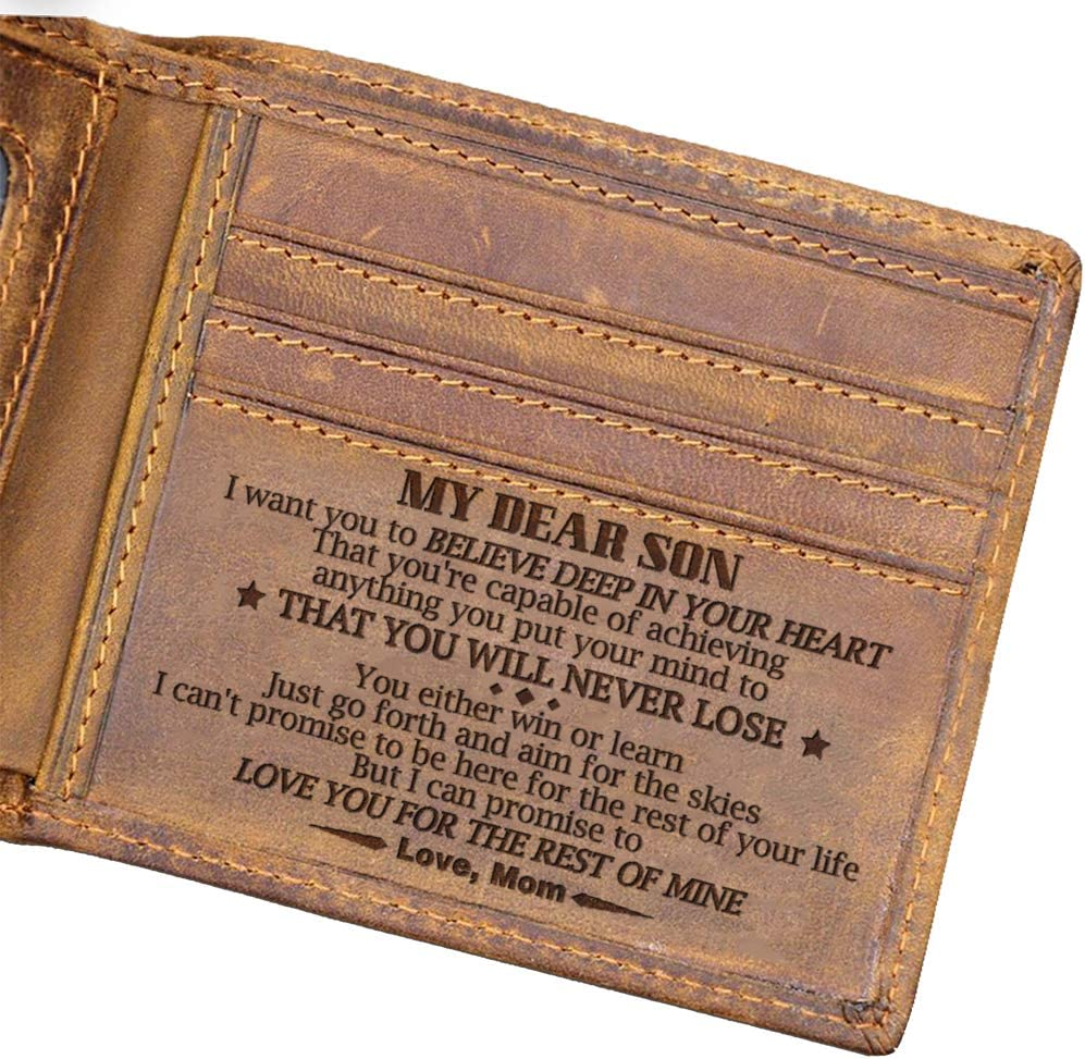 Engraved Bifold Wallet for Son - My Son Forever