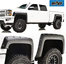 EAG E-Autogrilles Black 14-15 Chevrolet Silverado 1500 Pocket Rivet Style Fender Flares (Fits 6.6 & 8 ft Bed) (19294)