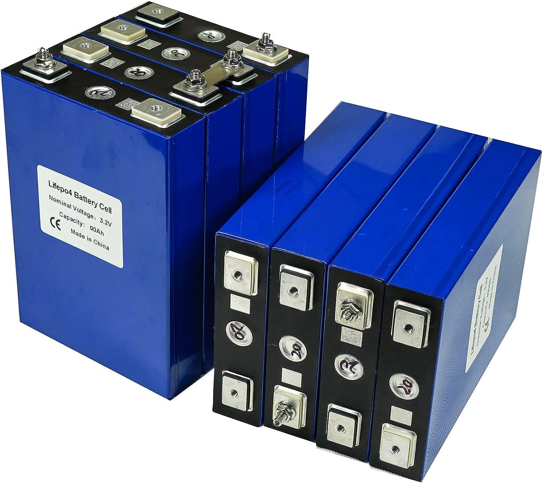 VARADOMO 4/8 / 16pcs 3.2v 100ah LIFEPO4 BATERÍA DIY 12V 100AH 24V 100V Paquete de batería Recargable para automóviles eléctricos Sistema de Almacenamiento de energía Solar RV,8pcs
