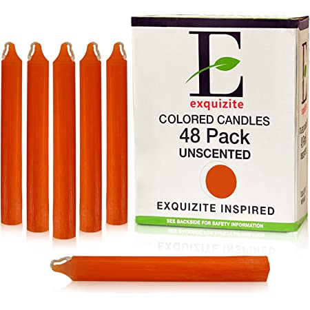 "Exquizite 48 Orange Colored Spell Candles, Unscented 5"" H X 3/5"" D, No Smoke for Spell, Chime, Parties, Wicca Wiccan Supplies and Christmas - Free Candle Spells E-Book"