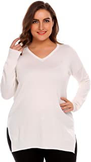 IN'VOLAND Plus Size Womens Knitted Long Sleeve Sweaters Lightweight Sweatshirt Pullover Tops