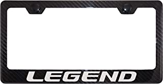 Fit Acura Legend 4K Gloss Black Carbon Fiber License Plate Frame with Black Cap