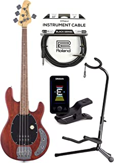 $309 » Sterling by Music Man S.U.B. Series StingRay Walnut Satin w/Guitar Stand, Tuner and 10' Cable Bundle