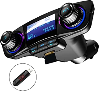 Bluetooth FM Transmitter Car MP3 Player Hands-Free Car Kit Wireless Radio Audio Adapter with Dual USB 5V 2.1A USB Port, U Disk, TF Card, Folder Playback, AUX Input Output, Voice Navigation