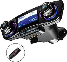 Bluetooth FM Transmitter Car MP3 Player Hands-Free Car Kit Wireless Radio Audio Adapter with Dual USB 5V 2.1A USB Port, U Disk, TF Card, Folder Playback, AUX Input Output, Voice Navigation