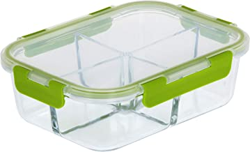 RoyalFord RF9218 1520ml Glass Meal Prep Container | Reusable, Airtight Food Storage box with 4 Compartments | Microwavable...