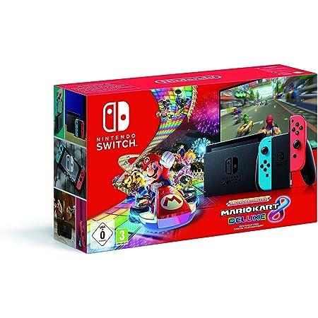 Nintendo Switch - Consola Nintendo Switch Rojo / Azul neón (Modelo 2019) + Mario Kart 8 Deluxe - Edición limitada