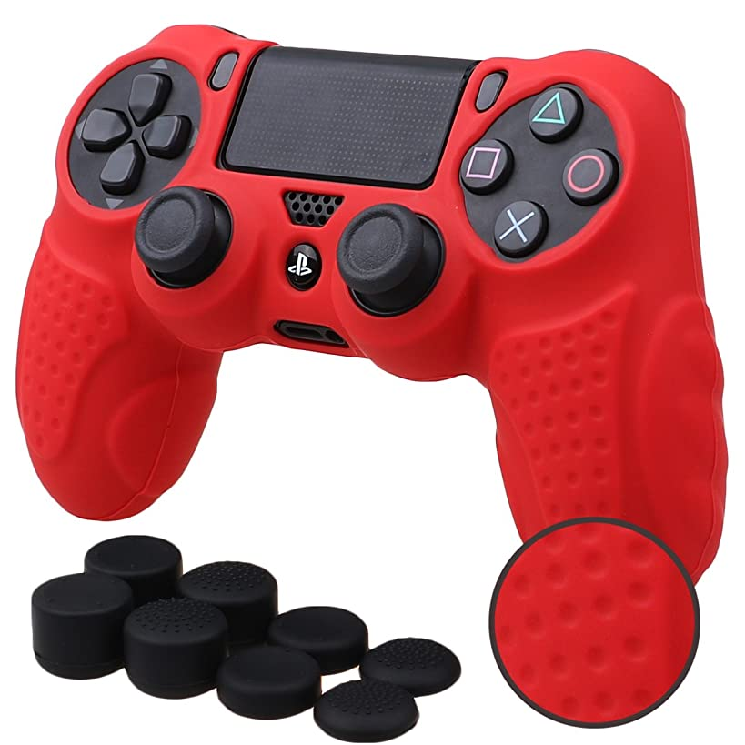 MXRC Silicone GRIP cover skin case anti-slip for PS4/SLIM/PRO controller x 1(red) + FPS PRO extra height thumb grips x 8