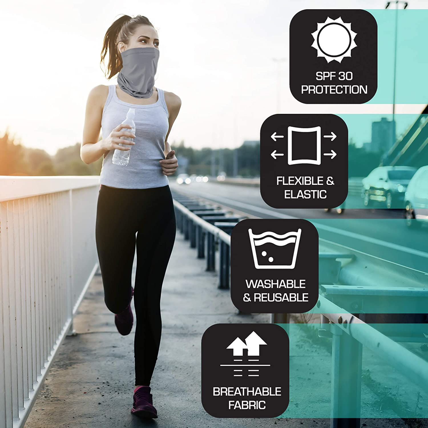 Aduro Sport Neck Gaiter Face Mask Sun Dust Protection Cloth Face Mask Washable Balaclava Face Coverings For Men & Women
