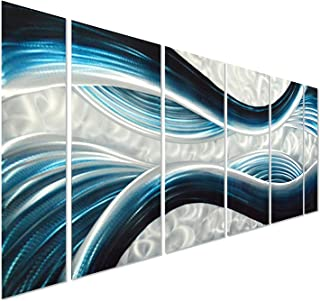 Pure Art Blue Desire Metal Wall Art, Large Scale Decor in Abstract Ocean Design, 3D Wall Art for Modern and Contemporary Decor, 6-Panels Measures 24