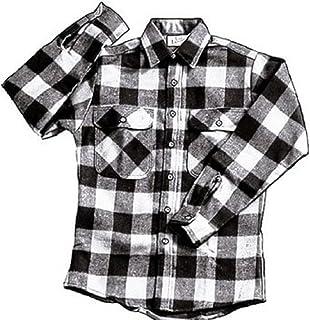 Extra Heavyweight Brawny Plaid Flannel Shirt (Medium, White)