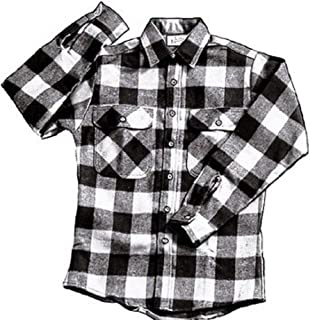 Extra Heavyweight Brawny Plaid Flannel Shirt (Medium, White)