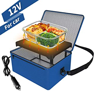Portable Oven, 12V Car Food Warmer Portable Personal Mini Oven Electric Heated Lunch Box for Meals Reheating & Raw Food Cooking for Road Trip/Camping/Picnic/Family Gathering(Blue)