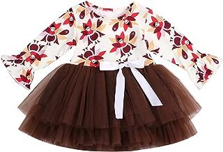 GRNSHTS Toddler Baby Girls Thanksgiving Dress Turkey Bowknot Long Bell Sleeve Tulle Tutu Skirt Clothing Set