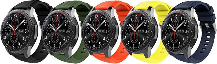 TiMOVO Samsung Gear S3 Frontier/Galaxy Watch 46mm Band, Soft Silicone Strap with Watch Lug Compatible with Samsung Gear S3 Frontier / S3 Classic/Moto 360 2nd Gen 46mm Smart Watch - Multi Color B