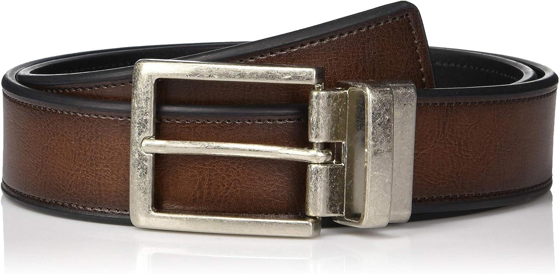 Perry Ellis Men's Portfolio Beveled Reversible Casual Belt