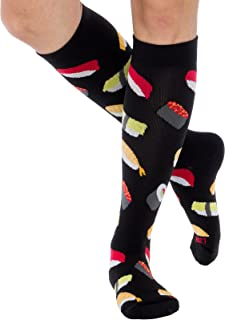 Fun Running Compression Socks - Graduated 15-25mmHG Colorful Knee High Sport Socks for Men and Women by LISH