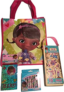 Disney Junior Doc McStuffins Mini Holographic Journal; Wooden Magnet Friends in Carrying Case; Crayons; Reusable Shopping Bag-sized Carry-all Tote Bag; 4-pc