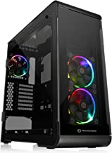 Thermaltake View 32 TG RGB 4 Tempered Glass Panels ATX Mid Tower Gaming Computer Case Chassis, 3 RGB Fan Pre-Installed, One Button to RGB LED Illumination, Built-in RGB Switch Board, CA-1J2-00M1WN-00