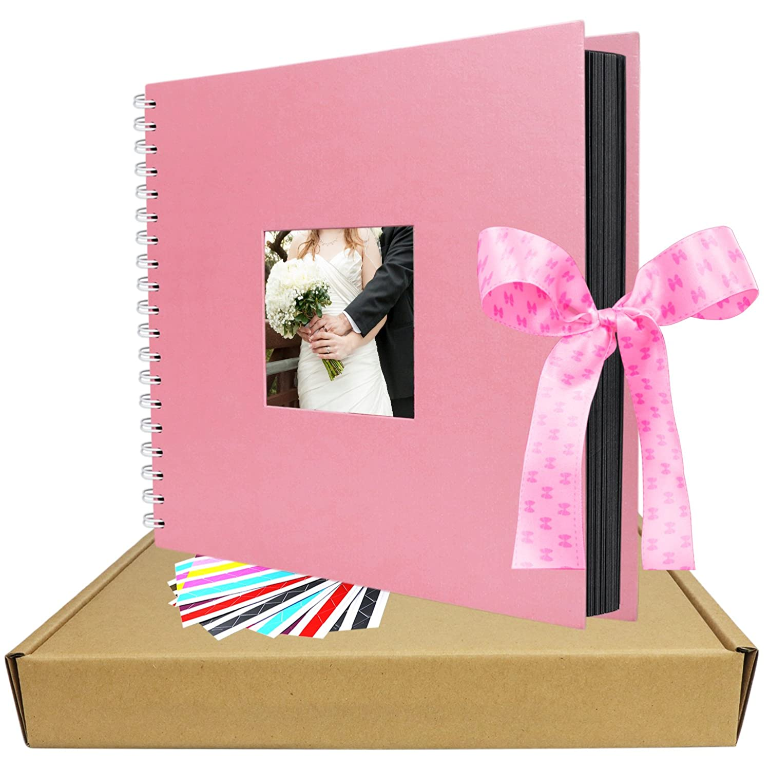 Scrapbook Album, 12x12 inches Pink LUNIQI Photo Collection with Photo Opening and Gift Bow Knot, 80 DIY Pages Craft Pages for Wedding, Valentines, Graduated, Love Moment Recorder (10x10 inches)