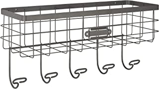 Spectrum Diversified Vintage Wire Basket & Hook Station Wall Mount Storage Rustic..