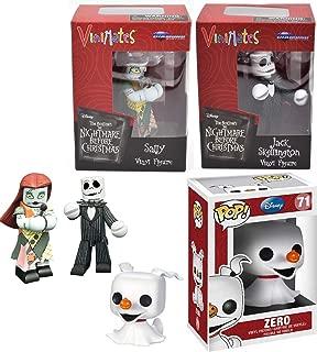 Jack + Sally & Zero NBX Vinyl Pop Figures Jack Skellington Nightmare Before Christmas Mates + Zero Ghost Dog Disney Series 3 Pack Bundle
