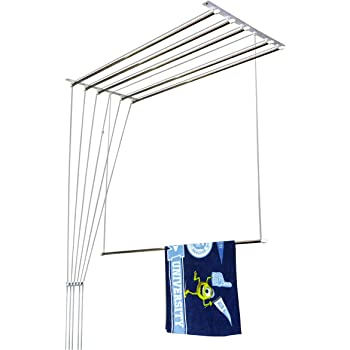 Homwell Deluxe Heavy Duty Stainless Steel (6 Pipe X 6 Feet) with UV Protected Nylon Ropes Rust Proof Individual Dropdown (Light Blue Color Side Caps) Ceiling Clothes Hanger/Cloth Dryer