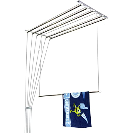 Homwell Deluxe Heavy Duty Stainless Steel (6 Pipe X 5 Feet) with UV Protected Nylon Ropes Rust Proof Individual Dropdown (Light Blue Color Side Caps) Ceiling Clothes Hanger/ Cloth Dryer