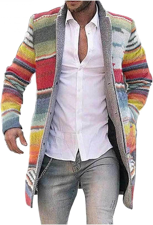 LEIYAN Mens Casual Trench Coat Fashion Long Sleeve Stand Collar Graphic Sherpa Winter Warm Windbreaker Cardigan