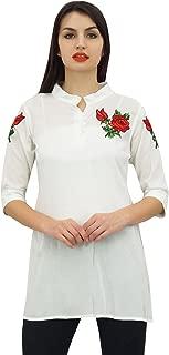 Phagun Women's Cotton Modal Top Floral Aari Work Shirt Style Blouse
