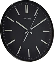 """Seiko 12"""" Black Wall Clock with White Markers"""