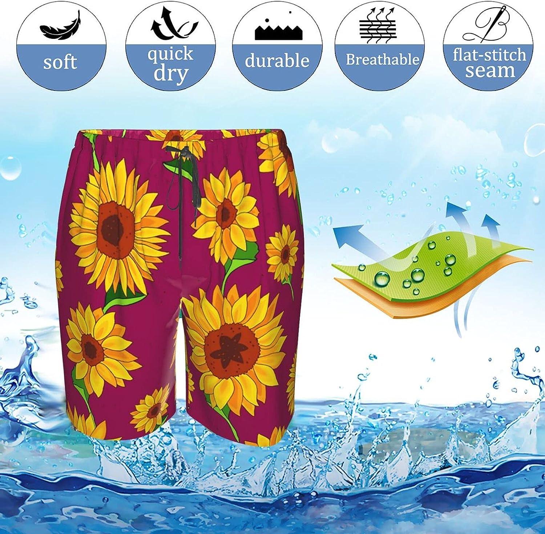 JINJUELS Men's Swim Shorts Summer Sunflowers Swim Boardshorts Quick Dry Comfy Summer Beach Shorts with Liner