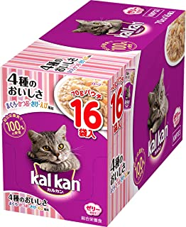 カルカン キャットフード パウチ 4種のおいしさ まぐろ・かつお・さけ・えび風味 成猫用 70グラム (x 16) (まとめ買い)