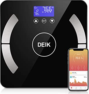 DEIK Body Fat Scale, Bluetooth Bathroom Scale with Smartphone APP, 18 Body Composition Analysis, High Precision Sensors, LCD Backlit Display, Include 3 AAA Batteries, Black