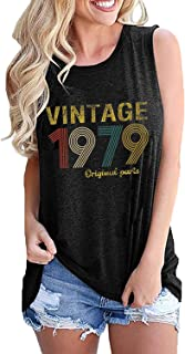 GREFLYING Vintage 1979 Original Parts 40th Birthday Gift Womens Tank Tops Retro Anniversary Cute Funny Summer Casual Vest Tees