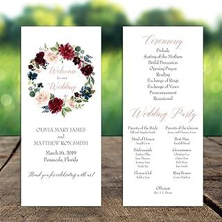 wedding program fan wording