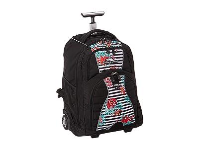 High Sierra Freewheel Wheeled Backpack (Tropical Stripe/Black) Backpack Bags