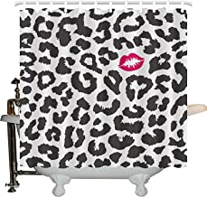 JXHLMS Safari Shower Curtain, Leopard Cheetah Animal Print with Kiss Shape Lipstick Mark Dotted Trend Artwork, Fabric Bathroom Decor Set with Hooks, 66X72 Inches, Black White Red