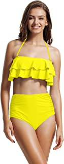 Women's Ruffle Bandeau High Waisted Bikini Bathing Suits