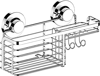 HOME SO Shower Basket Caddy with Suction Cup Holder - Bathroom Tray Hanger for Soap Bars, Sponges, Shampoo, Loofah - Stainless Steel, Chrome