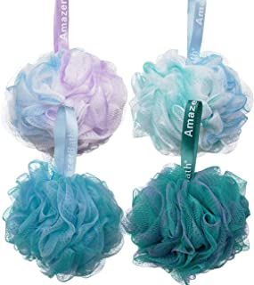 AmazerBath Shower Bath Sponge Shower Loofahs Balls 60g/PCS for Body Wash Bathroom Men Women- Set of 4 Flower Color
