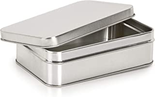Darice Small Metal Tin with Lid: Silver, 4.9 x 3.7 x 1.65 Inches
