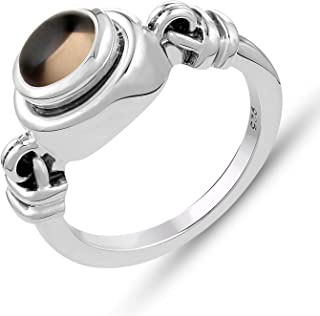 STELLAR DESIGNS Genuine Gemstone Ring - .925 Sterling Silver Ring- Smoky Quartz Ring | Valentine Gifts for Her