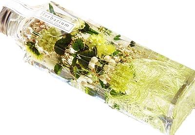 【Amazon.co.jp 限定】日本製 ハーバリウム プリザーブドフラワーLira 高さ16.7cm 角瓶 (ミックス・グリーン) 贈り物 プレゼント