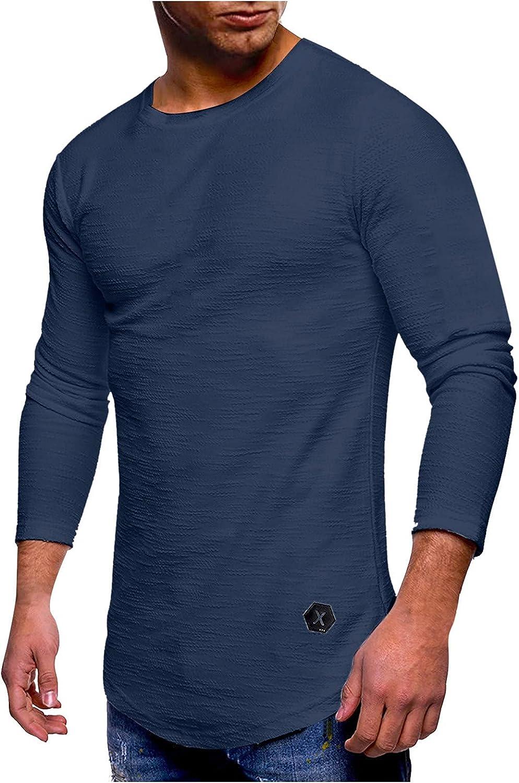 Sun Protection Long T-Shirt Men's Autumn Plain Crewneck Long Sleeve Shirt Tops Stretchy Comfortable Shirts Long Shirt