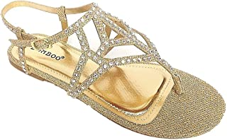 891cc98b84e4 BAMBOO Women s Strappy Rhinestones Thong Ankle Strap Sandals