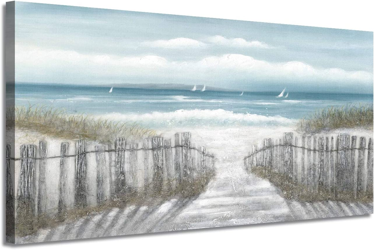 gift Canvas Wall Art Beach Pathway: Sandy to Path Fence Painting with trend rank
