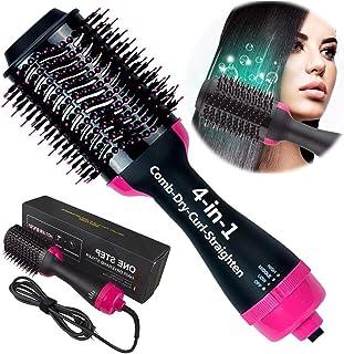سشوار یک مرحله ای و قلم موی چند منظوره هوای گرم Styightener-curl-Comb-Dryer ، خشک کن مو یک مرحله ای و حجم دهنده برس ویژگی ضد سوزش کاهش موخوره
