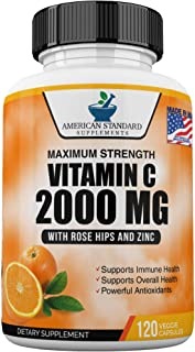 Vitamin C 2000mg with Zinc 40mg Per Serving and Rose Hips Extract, Immune Support for Adults, Immune Booster, Vegan Non GM...