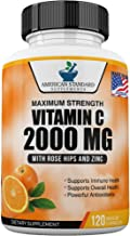 Vitamin C 2000mg with Zinc 40mg Per Serving and Rose Hips Extract, Immune Support for Adults Kids, Immune Booster, Vegan N...